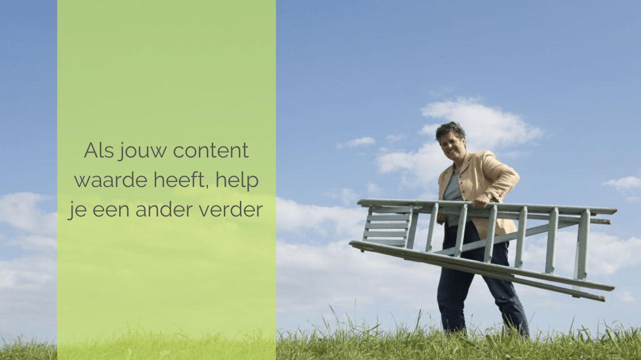 Als jouw content waarde heeft help je een ander verder